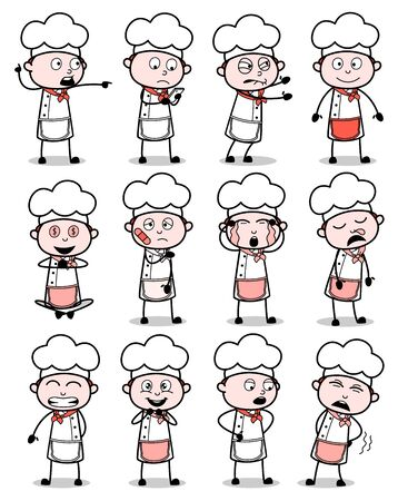 Comic Chef Poses Collection - Set of Concepts Vector illustrations