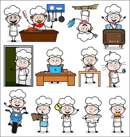 Set of Cartoon Chef - Various Concepts Vector illustrations