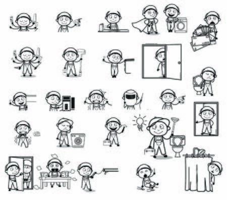 Drawing of Cartoon Serviceman Character - Set of Concepts Vector illustrations