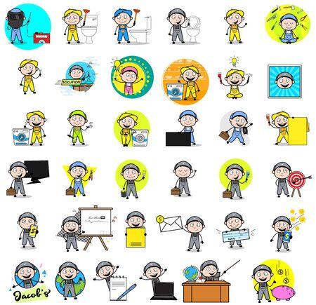 Comic Repairman Character with Various Concepts - Set of Different Vector illustrations Illusztráció