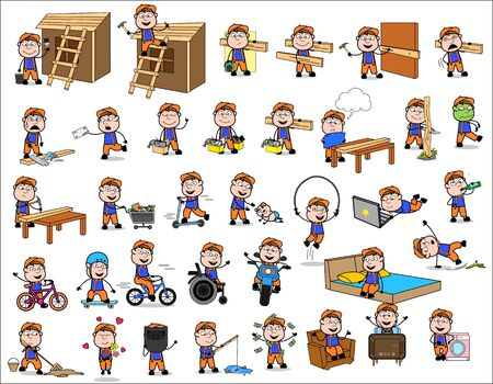 Comic Carpenter - Set of Concepts Vector illustrations