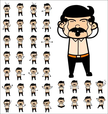Various Cartoon Indian Man Poses - Collection of Different Concepts Vector illustrations Stock Illustratie