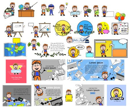Carpenter Character Collection - Set of Various Concepts Vector illustrations