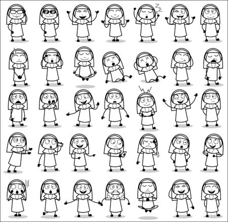 Retro Comic Art of Nun Lady Character Poses - Set of Concepts Vector illustrations
