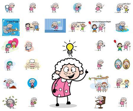 Comic Old Granny - Set of Concepts Vector illustrations