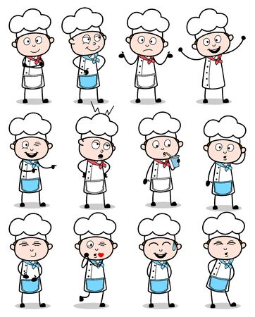 Cartoon Chef Poses - Set of Concepts Vector illustrations