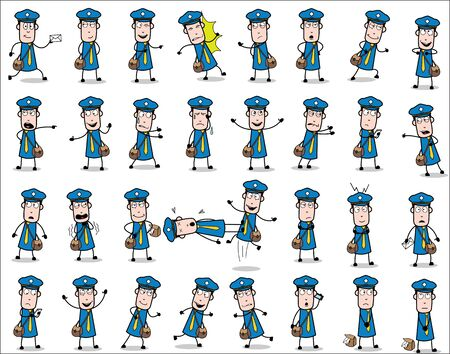 Cartoon Young Postman Poses - Set of Concepts Vector illustrations Çizim