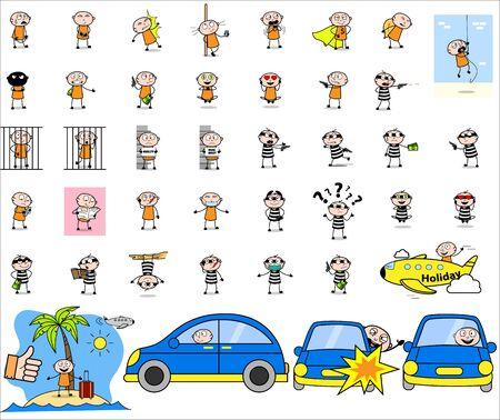 Comic Thief - Set of Concepts Vector illustrations