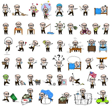 Old Boss - Set of Concepts Vector illustrations