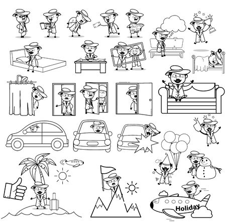 Retro Cartoon Detective Agent Character - Set of Concepts Vector illustrations