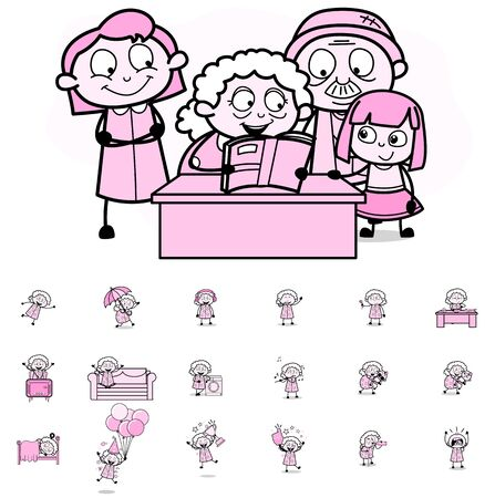 Various Concepts with Old Granny Character - Set of Different Vector illustrations