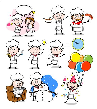 Different Concepts of Cartoon Chef - Set of Comic Vector illustrations