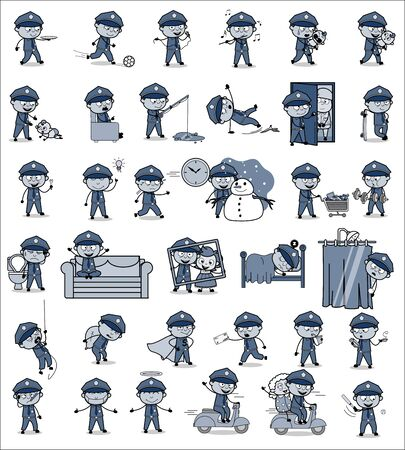 Collection of Vintage Policeman Cop Character - Set of Concepts Vector illustrations