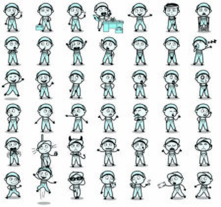 Vintage Set of Repairman Character Poses - Set of Concepts Vector illustrations Ilustrace
