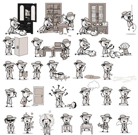 Various Vintage Detective Agent Character - Set of Concepts Vector illustrations