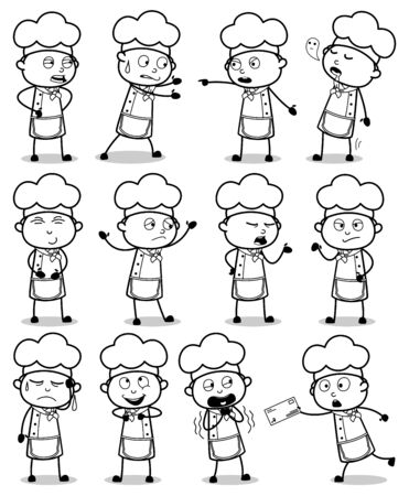 Comic Chef Characters - Set of Poses Concepts Vector illustrations
