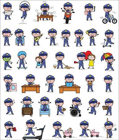 Comic Policeman Cop - Set of Concepts Vector illustrations