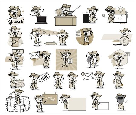 Vintage Concepts of Comic Detective Agent - Set of Various Vector illustrations