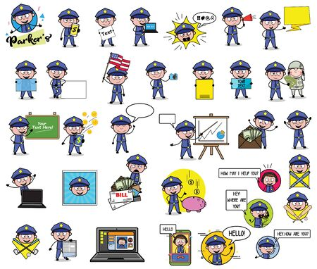 Policeman Cop with Many Concepts - Set of Various Vector illustrations