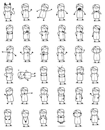 Various Cartoon Priest Monk Poses Drawings - Set of Concepts Vector illustrations