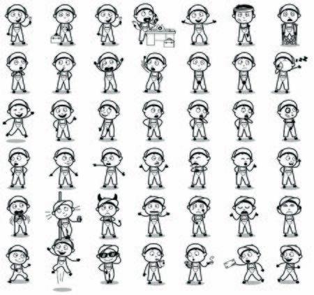 Retro Comic Repairman Poses - Set of Concepts Vector illustrations