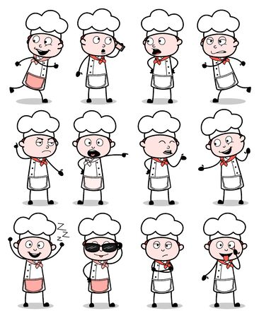 Vintage Cartoon Chef - Set of Concepts Vector illustrations
