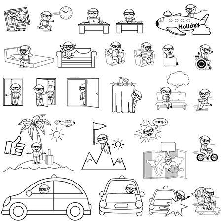Cartoon Retro Old Boss - Set of Concepts Vector illustrations