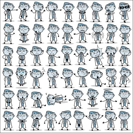 Collection of Cartoon Doctor Poses - Set of Concepts Vector illustrations