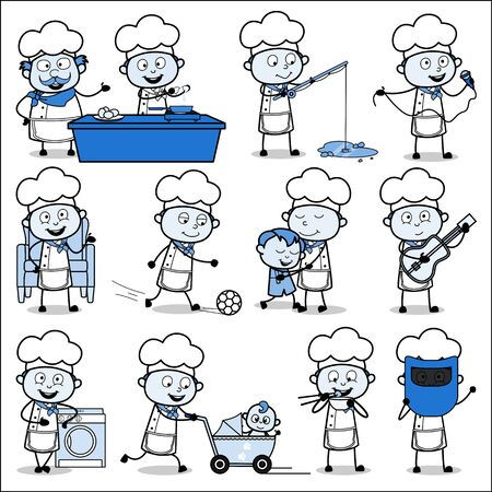 Various Vintage Cartoon Chef - Set of Concepts Vector illustrations