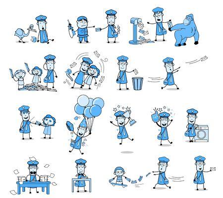 Comic Vintage Postman Character - Various Concepts Vector illustrations