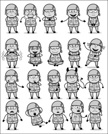 Many Poses of Cartoon Army Man - Set of Concepts Vector illustrations