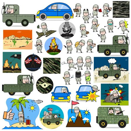 Different Comic Army Man Characters - Set of Concepts Vector illustrations