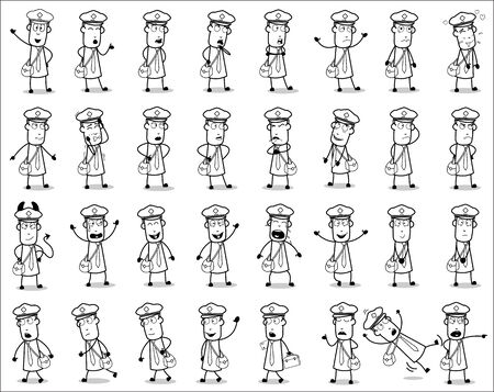 Drawing Art of Postman Poses - Set of Concepts Vector illustrations