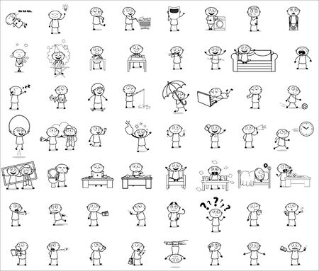 Black and White Cartoon Thief - Set of Concepts Vector illustrations