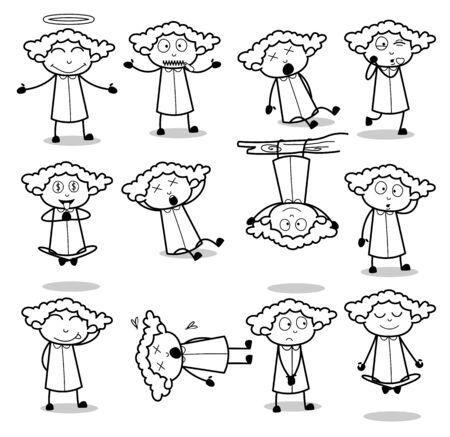 Poses en noir et blanc de Office Lady - Ensemble d'illustrations vectorielles de Concepts