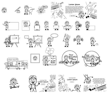 Funny Cartoon Vendor Character - Collection of Comic Vector illustrations