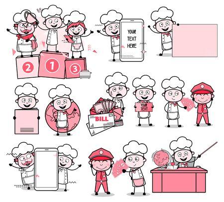 Cartoon Chef - Set of Retro Concepts Vector illustrations