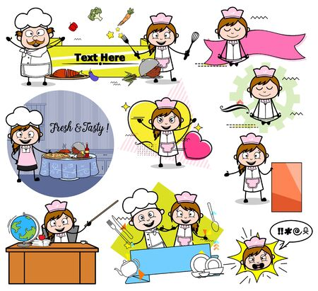 Comic Female Waitress - Collection of Concepts Vector illustrations