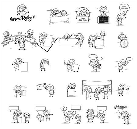Retro Funny Old Grandma Character - Set of Concepts Vector illustrations