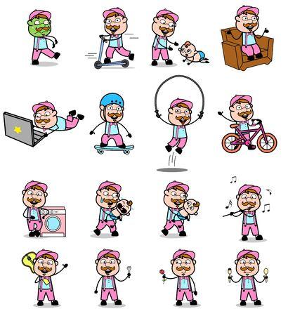 Various Cartoon Vendor Character - Set of Concepts Vector illustrations
