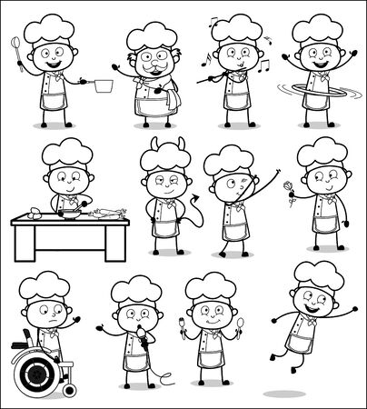 Retro Black and White Cartoon Chef - Set of Concepts Vector illustrations
