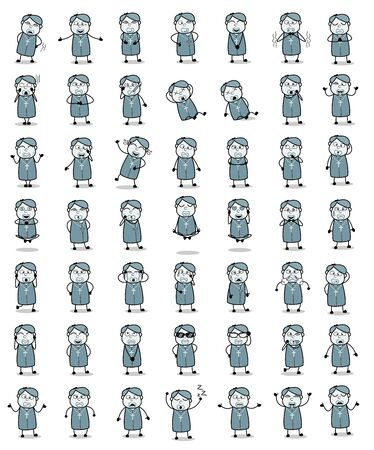 Collection of Vintage Priest Monk Poses - Set of Concepts Vector illustrations