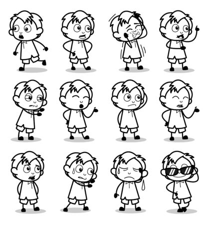 Black and White Cartoon Office Guy Poses - Set of Concepts Vector illustrations