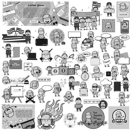 Black and White Concepts of Comic Army Man - Vector illustrations