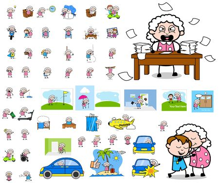 Cartoon Old Granny Character - Collection of Concepts Vector illustrations