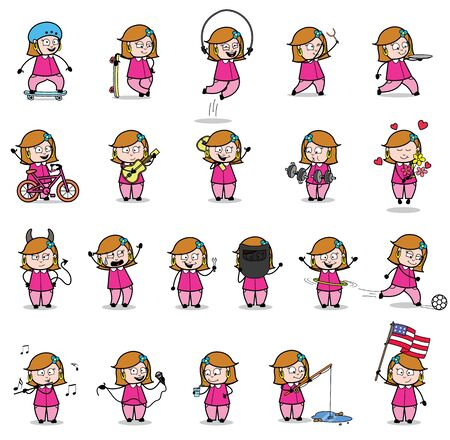 Cartoon Housewife - Set of Concepts Vector illustrations Vectores