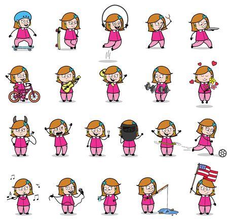 Cartoon Housewife - Set of Concepts Vector illustrations Illusztráció