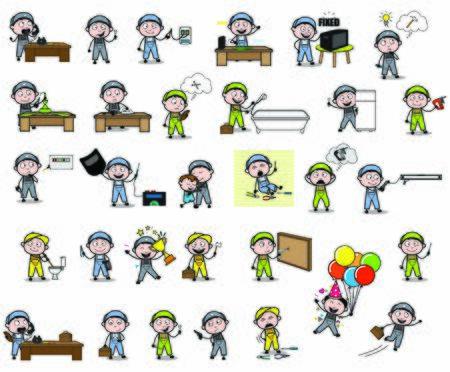 Cartoon Repairman - Set of Concepts Vector illustrations Illusztráció