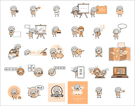 Cartoon Vintage Old Granny - Collection Funny Concepts Vector illustrations