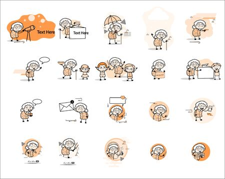 Different Types Old Granny Characters Concepts - Vintage Vector illustrations 向量圖像